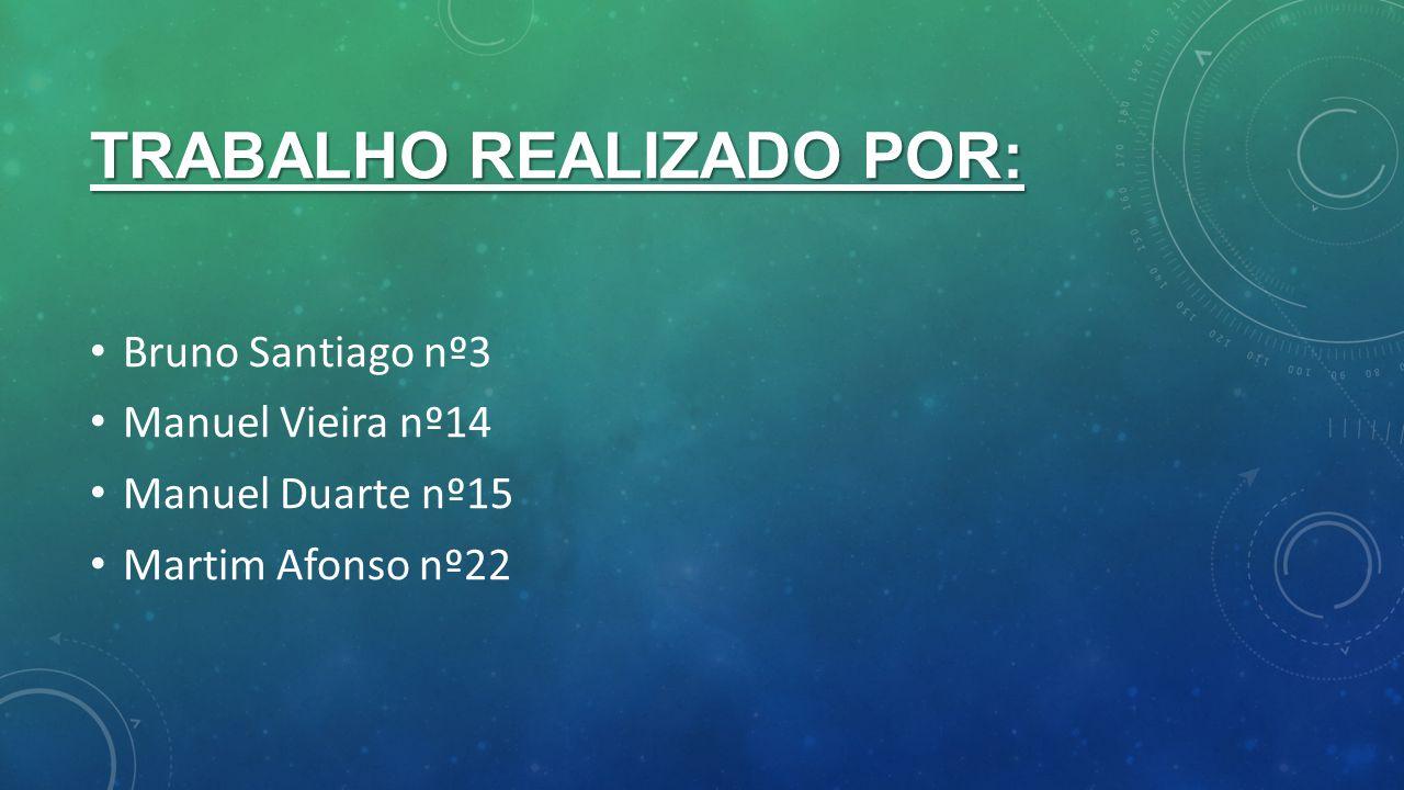 TRABALHO REALIZADO POR: Bruno Santiago nº3 Manuel Vieira nº14 Manuel Duarte nº15 Martim Afonso nº22