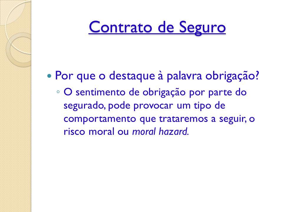 Contrato de Seguro Por que o destaque à palavra obrigação.