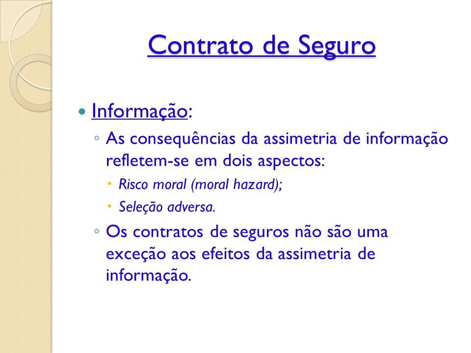 Contrato de Seguro Informação: ◦ As consequências da assimetria de informação refletem-se em dois aspectos:  Risco moral (moral hazard);  Seleção adversa.