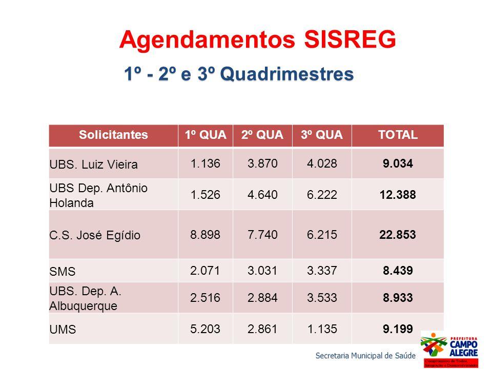 Agendamentos SISREG 1º - 2º e 3º Quadrimestres Solicitantes1º QUA2º QUA3º QUATOTAL UBS.