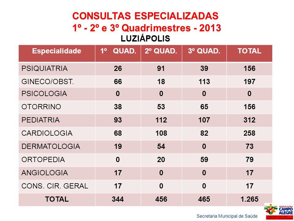 CONSULTAS ESPECIALIZADAS 1º - 2º e 3º Quadrimestres - 2013 1º - 2º e 3º Quadrimestres - 2013 LUZIÁPOLIS Especialidade 1º QUAD.2º QUAD.3º QUAD.TOTAL PS