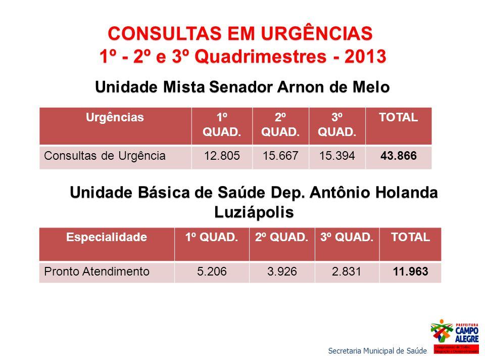 CONSULTAS EM URGÊNCIAS 1º - 2º e 3º Quadrimestres - 2013 1º - 2º e 3º Quadrimestres - 2013 Unidade Mista Senador Arnon de Melo Urgências1º QUAD.