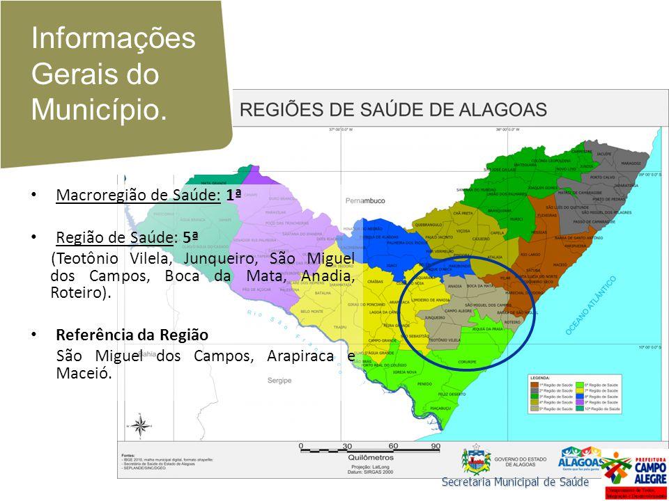 Informações Gerais do Município. Macroregião de Saúde: 1ª Região de Saúde: 5ª (Teotônio Vilela, Junqueiro, São Miguel dos Campos, Boca da Mata, Anadia