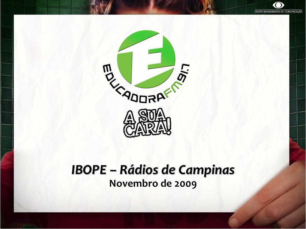RANKING DE AUDIÊNCIA – Segunda à Sexta-feira / 06h00 – 19h00 / Geral EDUCADORA FM Liderança Absoluta entre as rádios de Campinas.