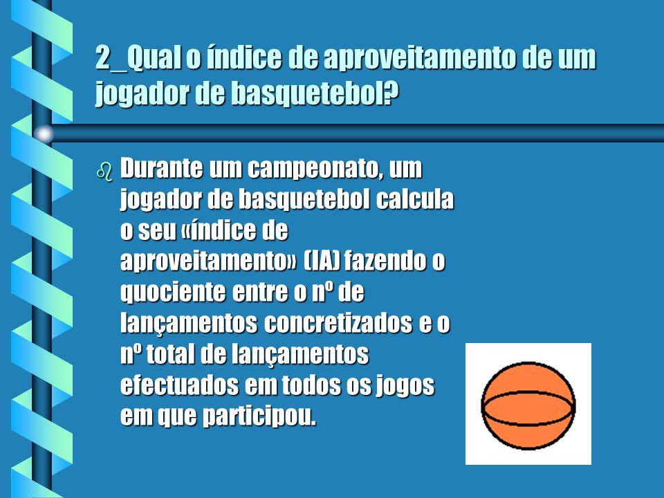 2_Qual o índice de aproveitamento de um jogador de basquetebol.