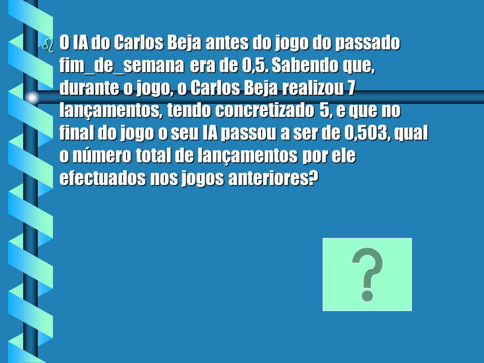 Resolução b IA b IA =nº de lançamentos concretizados (X) nº total de lançamentos efectuados (Y) b IA 1 Carlos b IA 1 Carlos = 0,5 b IA 2 Carlos b IA 2 Carlos = 0,503