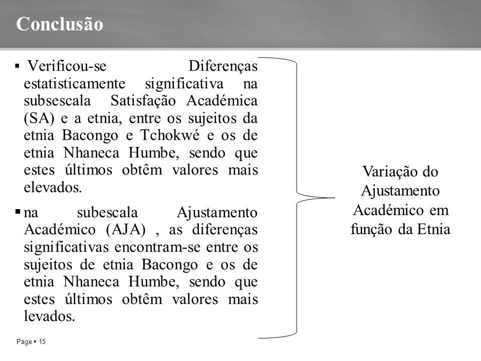 Page  15 Conclusão  Verificou-se Diferenças estatisticamente significativa na subsescala Satisfação Académica (SA) e a etnia, entre os sujeitos da etnia Bacongo e Tchokwé e os de etnia Nhaneca Humbe, sendo que estes últimos obtêm valores mais elevados.