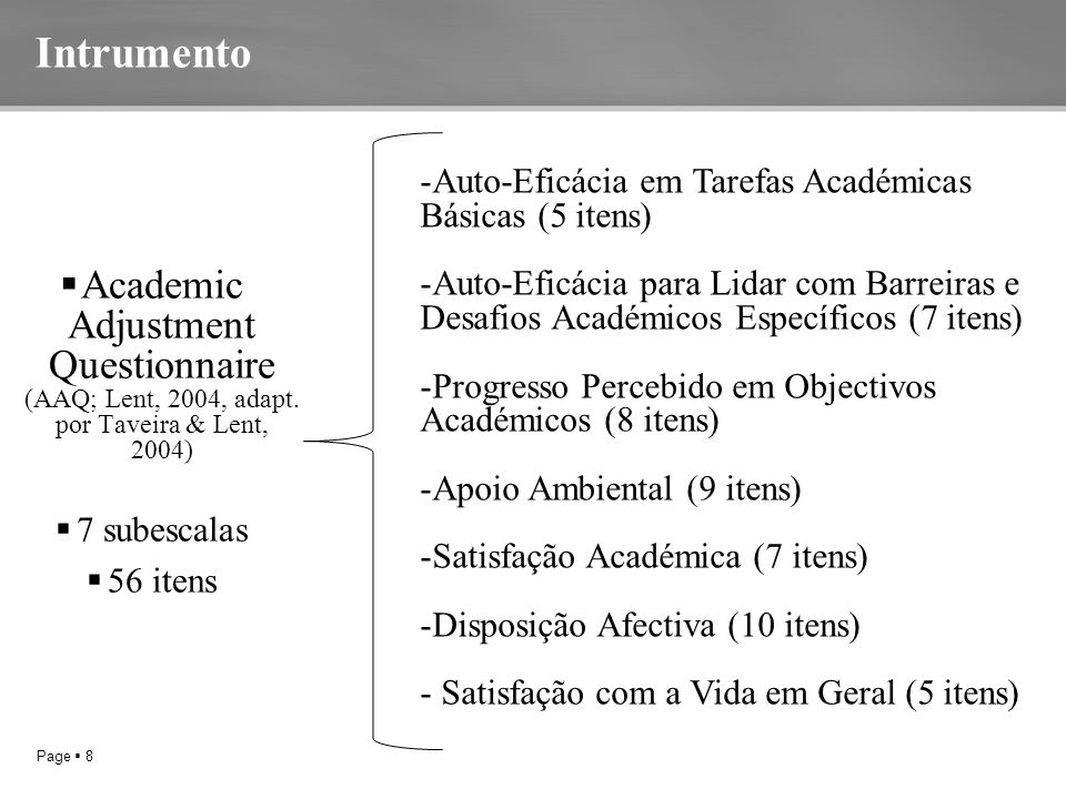 Page  8 Intrumento  Academic Adjustment Questionnaire (AAQ; Lent, 2004, adapt.