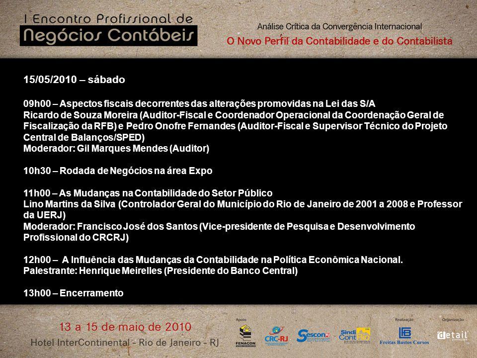 15/05/2010 – sábado 09h00 – Aspectos fiscais decorrentes das alterações promovidas na Lei das S/A Ricardo de Souza Moreira (Auditor-Fiscal e Coordenad