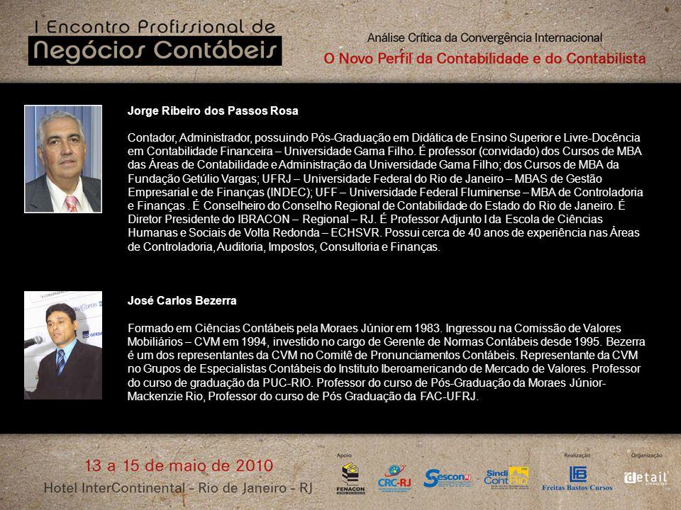 Jorge Ribeiro dos Passos Rosa Contador, Administrador, possuindo Pós-Graduação em Didática de Ensino Superior e Livre-Docência em Contabilidade Financ