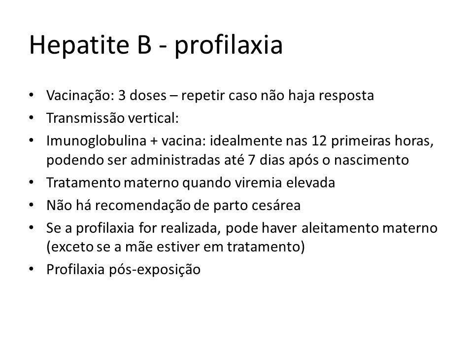 Hepatite B - profilaxia Vacinação: 3 doses – repetir caso não haja resposta Transmissão vertical: Imunoglobulina + vacina: idealmente nas 12 primeiras