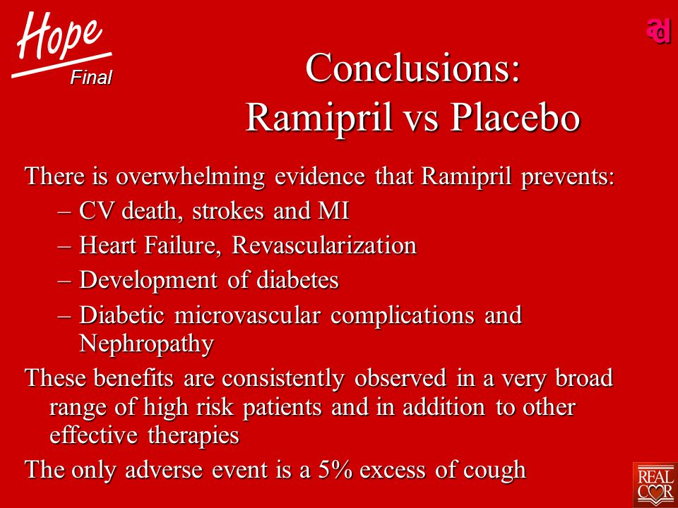 ad Conclusions: Ramipril vs Placebo There is overwhelming evidence that Ramipril prevents: –CV death, strokes and MI –Heart Failure, Revascularization –Development of diabetes –Diabetic microvascular complications and Nephropathy These benefits are consistently observed in a very broad range of high risk patients and in addition to other effective therapies The only adverse event is a 5% excess of cough Final