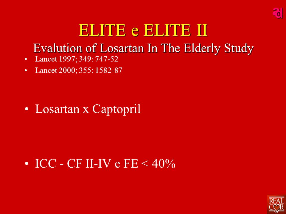 ad ELITE e ELITE II Evalution of Losartan In The Elderly Study Lancet 1997; 349: 747-52 Lancet 2000; 355: 1582-87 Losartan x Captopril ICC - CF II-IV
