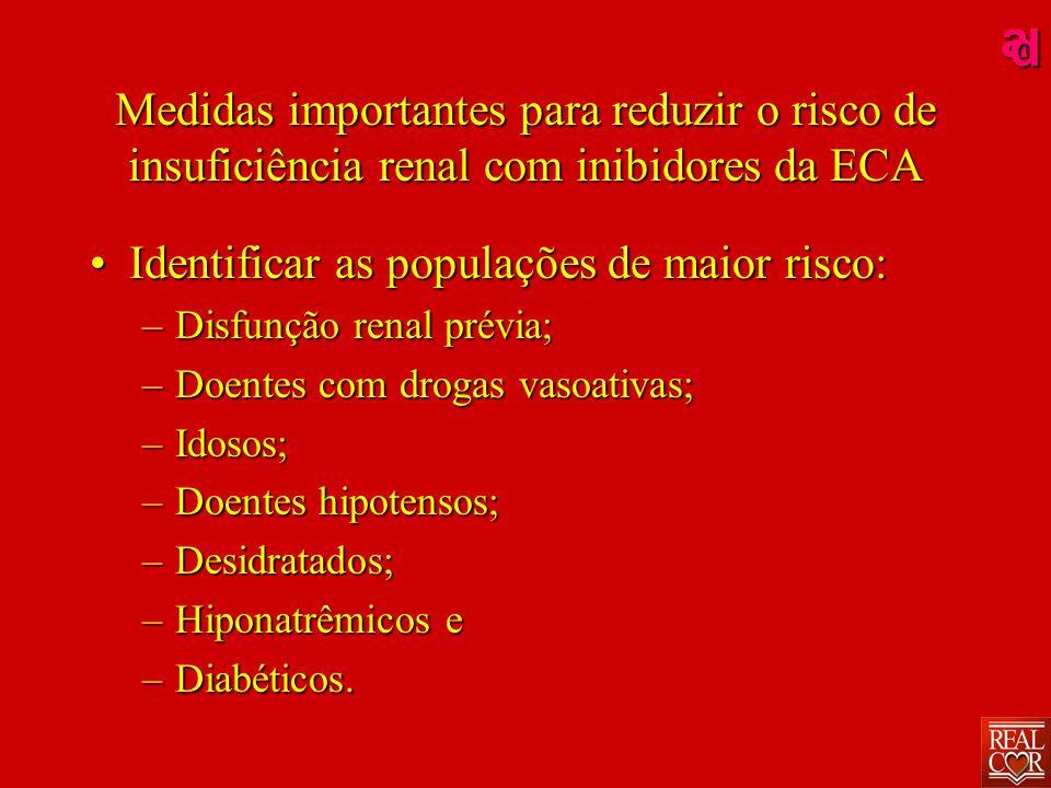ad Medidas importantes para reduzir o risco de insuficiência renal com inibidores da ECA IdentificarIdentificar as populações de maior risco: –Disfunção –Disfunção renal prévia; –Doentes –Doentes com drogas vasoativas; –Idosos; –Doentes –Doentes hipotensos; –Desidratados; –Hiponatrêmicos –Hiponatrêmicos e –Diabéticos.