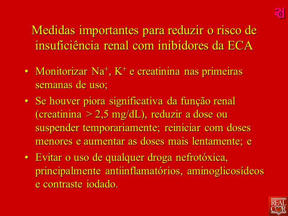 ad Medidas importantes para reduzir o risco de insuficiência renal com inibidores da ECA MonitorizarMonitorizar Na +, Na +, K+ K+ K+ K+ e creatinina nas primeiras semanas de uso; SeSe houver piora significativa da função renal (creatinina > 2,5 mg/dL), reduzir a dose ou suspender temporariamente; reiniciar com doses menores e aumentar as doses mais lentamente; e EvitarEvitar o uso de qualquer droga nefrotóxica, principalmente antiinflamatórios, aminoglicosídeos e contraste iodado.