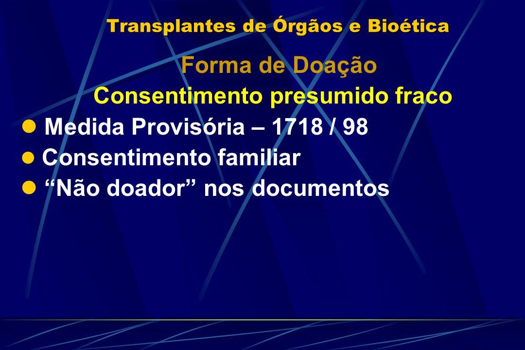 Transplantes de Órgãos e Bioética Forma de Doação Consentimento presumido fraco Medida Provisória – 1718 / 98 Consentimento familiar Não doador nos documentos