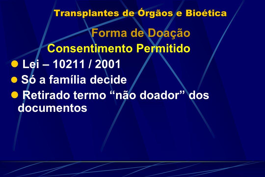 """Transplantes de Órgãos e Bioética Forma de Doação Consentimento Permitido Lei – 10211 / 2001 Só a família decide Retirado termo """"não doador"""" dos docum"""