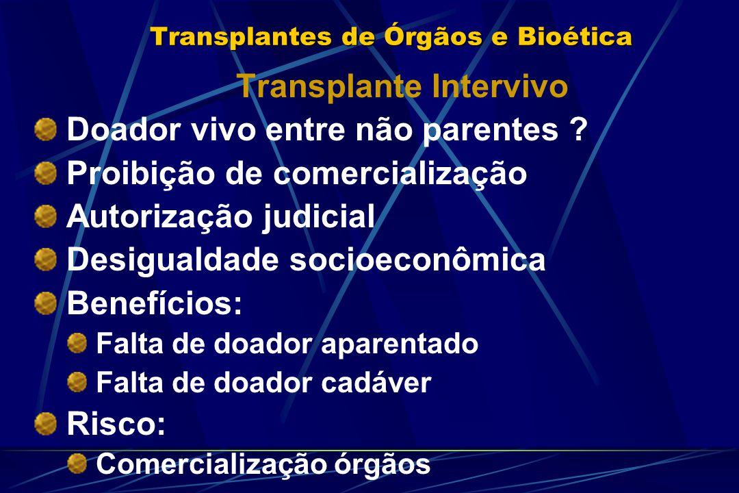 Transplantes de Órgãos e Bioética Transplante Intervivo Doador vivo entre não parentes ? Proibição de comercialização Autorização judicial Desigualdad