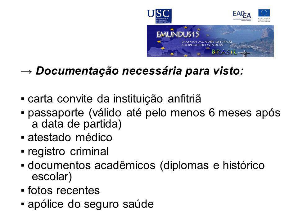 → Documentação necessária para visto: ▪ carta convite da instituição anfitriã ▪ passaporte (válido até pelo menos 6 meses após a data de partida) ▪ at
