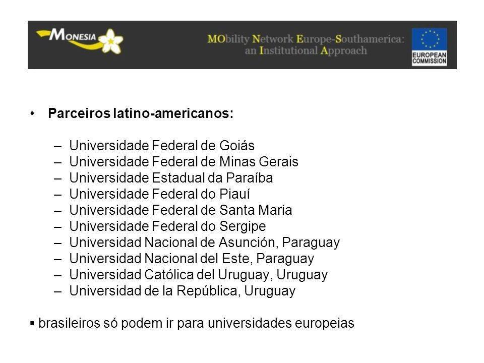 Parceiros latino-americanos: –Universidade Federal de Goiás –Universidade Federal de Minas Gerais –Universidade Estadual da Paraíba –Universidade Fede