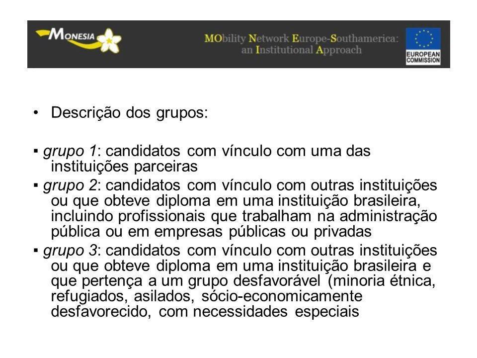 Descrição dos grupos: ▪ grupo 1: candidatos com vínculo com uma das instituições parceiras ▪ grupo 2: candidatos com vínculo com outras instituições o