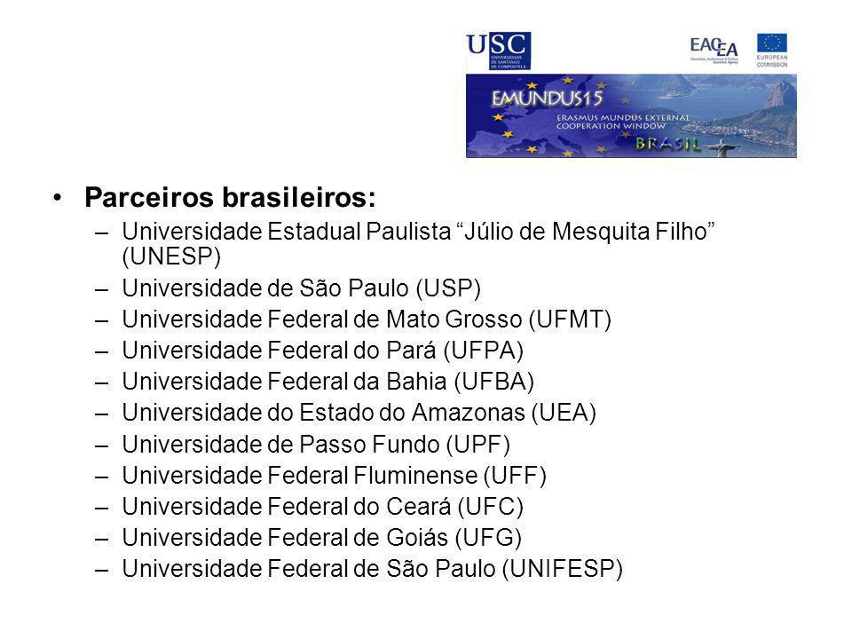"""Parceiros brasileiros: –Universidade Estadual Paulista """"Júlio de Mesquita Filho"""" (UNESP) –Universidade de São Paulo (USP) –Universidade Federal de Mat"""