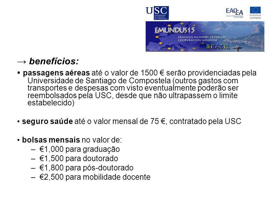 → benefícios: ▪ passagens aéreas até o valor de 1500 € serão providenciadas pela Universidade de Santiago de Compostela (outros gastos com transportes