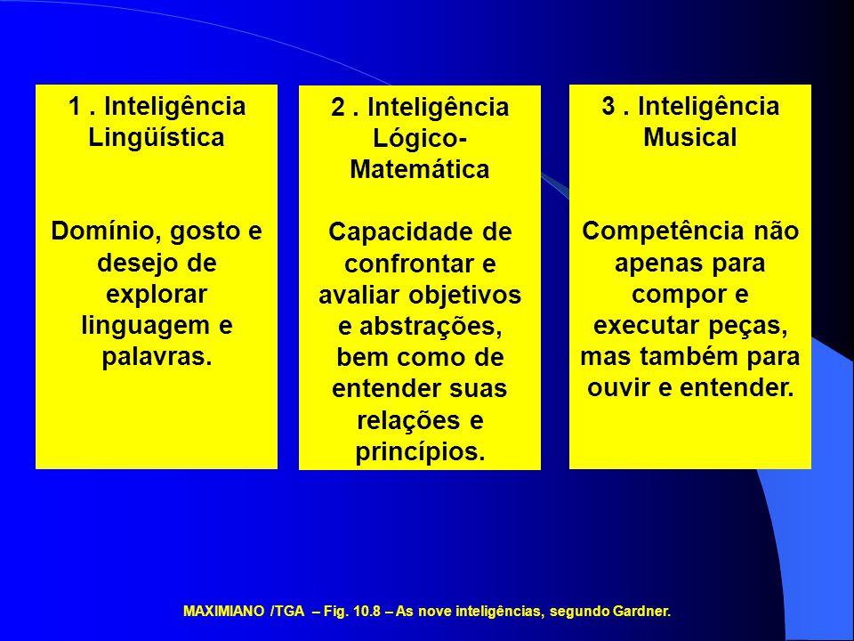1. Inteligência Lingüística Domínio, gosto e desejo de explorar linguagem e palavras. 2. Inteligência Lógico- Matemática Capacidade de confrontar e av