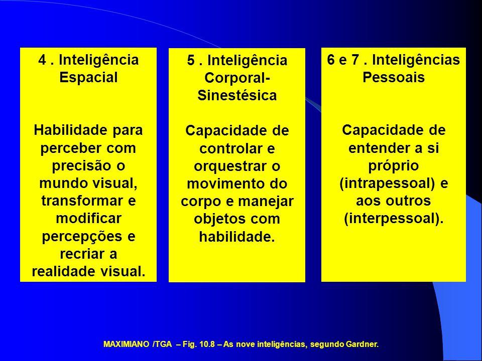 4. Inteligência Espacial Habilidade para perceber com precisão o mundo visual, transformar e modificar percepções e recriar a realidade visual. 5. Int