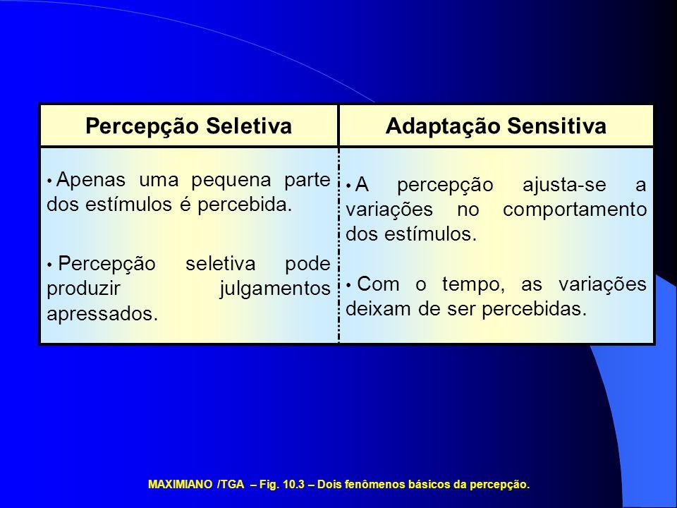 A percepção ajusta-se a variações no comportamento dos estímulos. Com o tempo, as variações deixam de ser percebidas. Apenas uma pequena parte dos est