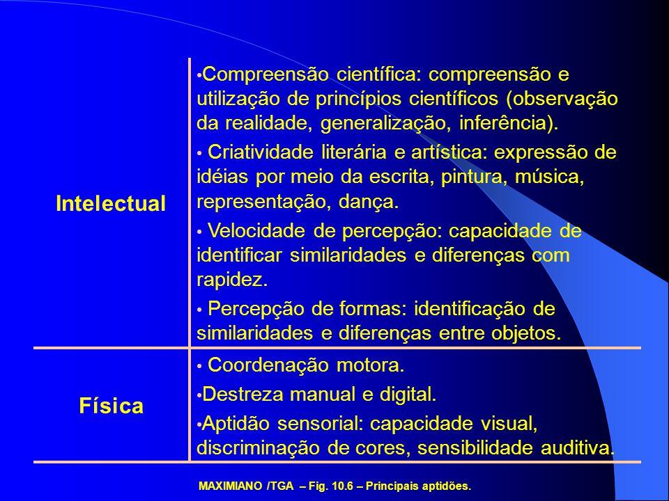 Extroversão (E) Atenção preferencial para o mundo exterior Introversão (I) Atenção preferencial para o mundo interior Direção da energia Sensação (S) Preferência por informação concreta e detalhes Intuição (N) Preferência por informação abstrata e visão de conjunto Tipo de informação percebida Pensamento (T) Sentimento (F) Considerações de ordem pessoal, atenção aos fatores pessoais Critério de decisãoJulgamento (J) Preferência por tomar decisões em lugar de buscar informações Percepção (P) Preferência por buscar informações em lugar de tomar decisões imediatas Modo de decisão (fase do processo decisório) MAXIMIANO /TGA – Fig.
