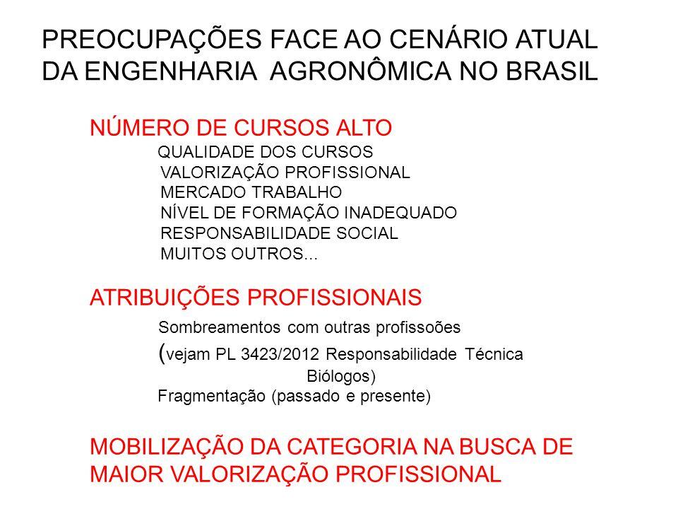 PREOCUPAÇÕES FACE AO CENÁRIO ATUAL DA ENGENHARIA AGRONÔMICA NO BRASIL NÚMERO DE CURSOS ALTO QUALIDADE DOS CURSOS VALORIZAÇÃO PROFISSIONAL MERCADO TRABALHO NÍVEL DE FORMAÇÃO INADEQUADO RESPONSABILIDADE SOCIAL MUITOS OUTROS...