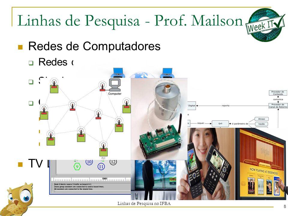 Redes de Computadores  Redes de Sensores Sem Fio  Simulação de Redes  Qualidade de Serviço Vazão Atraso Perda de Pacotes TV Digital Linhas de Pesquisa - Prof.