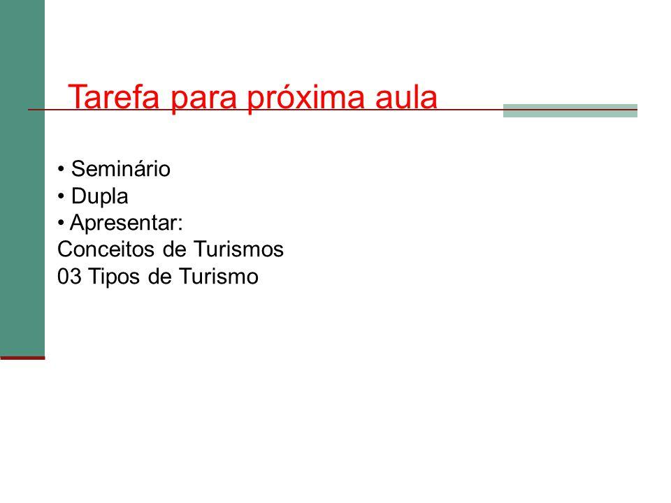Seminário Dupla Apresentar: Conceitos de Turismos 03 Tipos de Turismo Tarefa para próxima aula