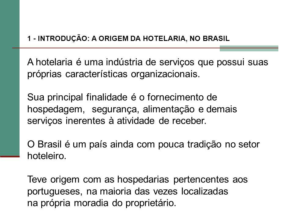 1 - INTRODUÇÃO: A ORIGEM DA HOTELARIA, NO BRASIL A hotelaria é uma indústria de serviços que possui suas próprias características organizacionais. Sua