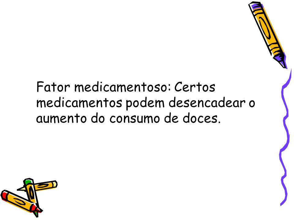 Fator medicamentoso: Certos medicamentos podem desencadear o aumento do consumo de doces.