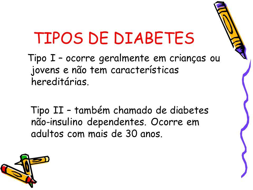 TIPOS DE DIABETES Tipo I – ocorre geralmente em crianças ou jovens e não tem características hereditárias.