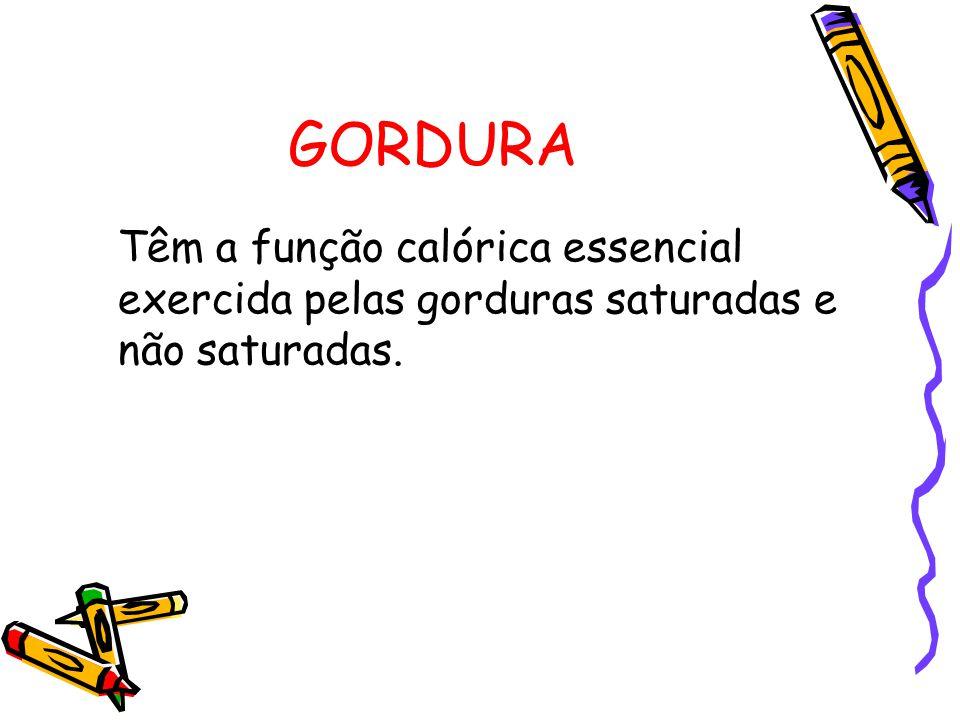GORDURA Têm a função calórica essencial exercida pelas gorduras saturadas e não saturadas.
