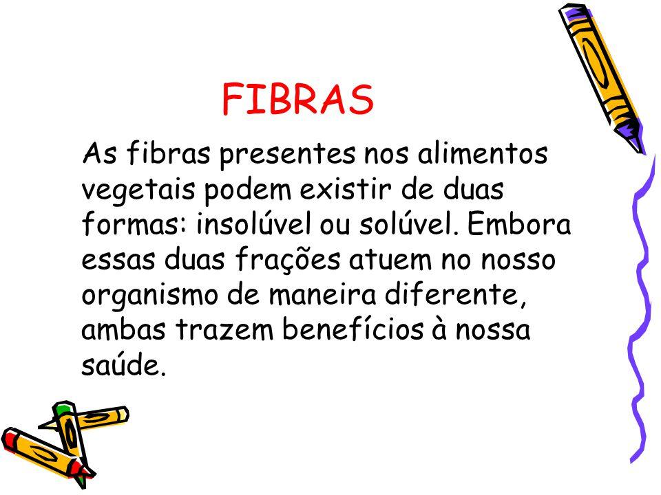FIBRAS As fibras presentes nos alimentos vegetais podem existir de duas formas: insolúvel ou solúvel.