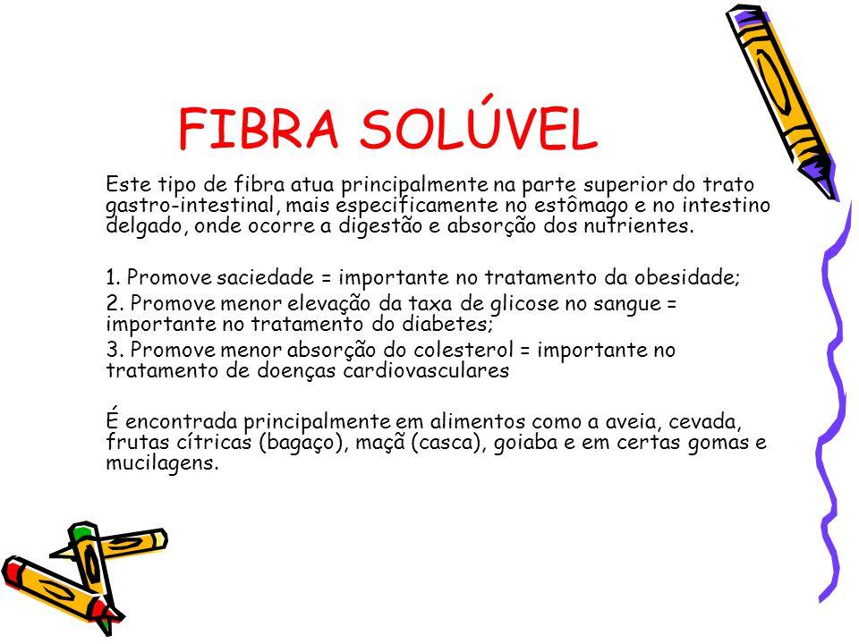 FIBRA SOLÚVEL Este tipo de fibra atua principalmente na parte superior do trato gastro-intestinal, mais especificamente no estômago e no intestino delgado, onde ocorre a digestão e absorção dos nutrientes.