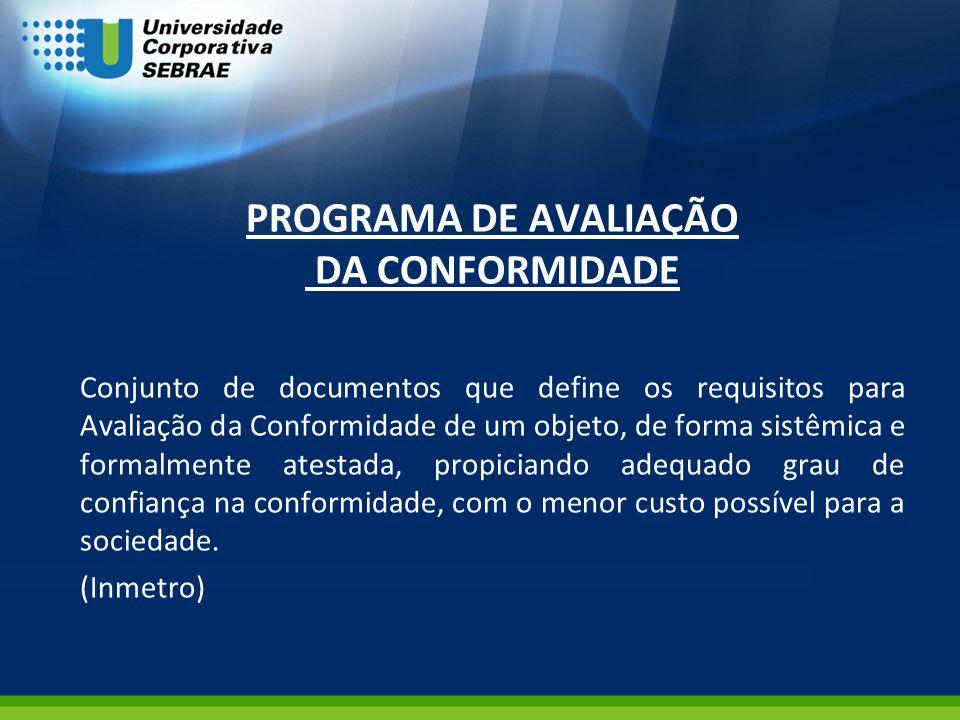 PROGRAMA DE AVALIAÇÃO DA CONFORMIDADE Conjunto de documentos que define os requisitos para Avaliação da Conformidade de um objeto, de forma sistêmica
