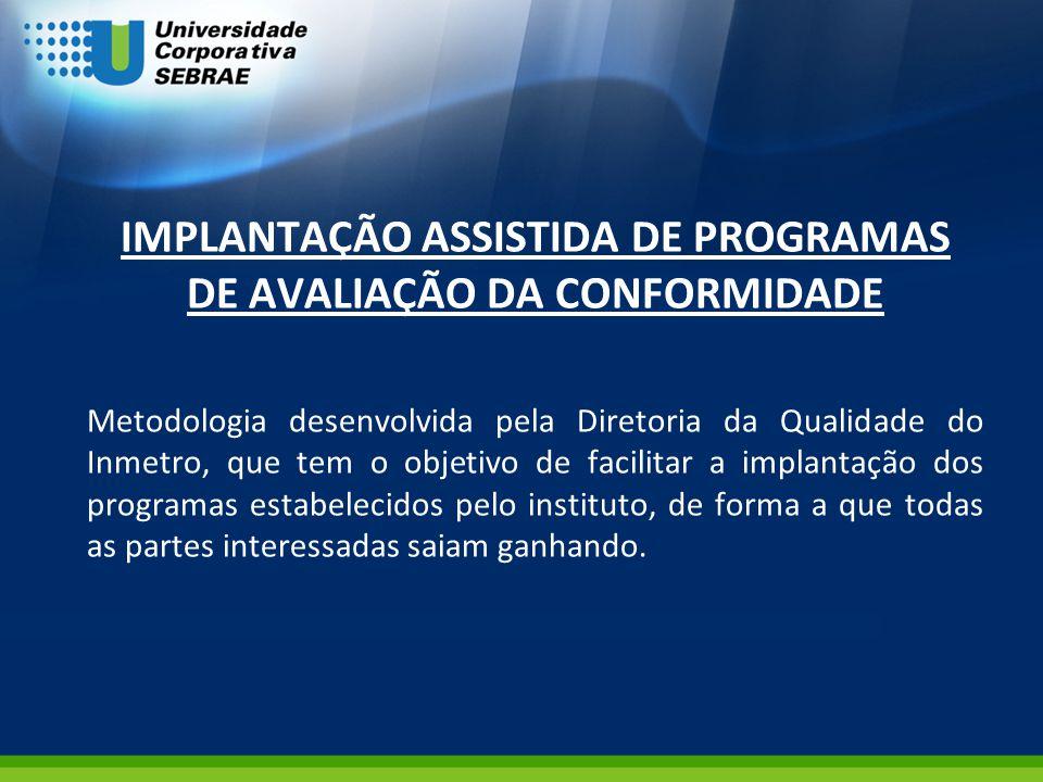 IMPLANTAÇÃO ASSISTIDA DE PROGRAMAS DE AVALIAÇÃO DA CONFORMIDADE Metodologia desenvolvida pela Diretoria da Qualidade do Inmetro, que tem o objetivo de