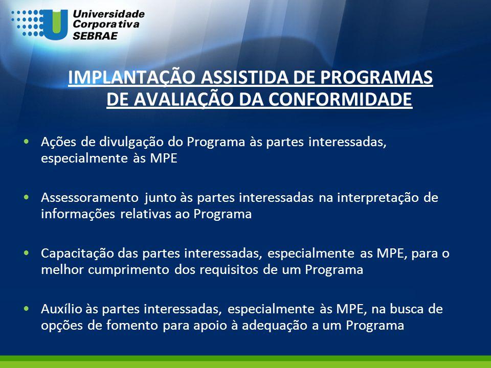IMPLANTAÇÃO ASSISTIDA DE PROGRAMAS DE AVALIAÇÃO DA CONFORMIDADE Ações de divulgação do Programa às partes interessadas, especialmente às MPE Assessora