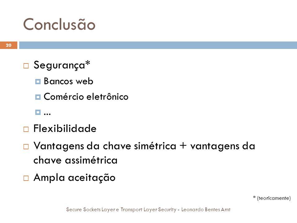 Conclusão 20 Secure Sockets Layer e Transport Layer Security - Leonardo Bentes Arnt  Segurança*  Bancos web  Comércio eletrônico ...