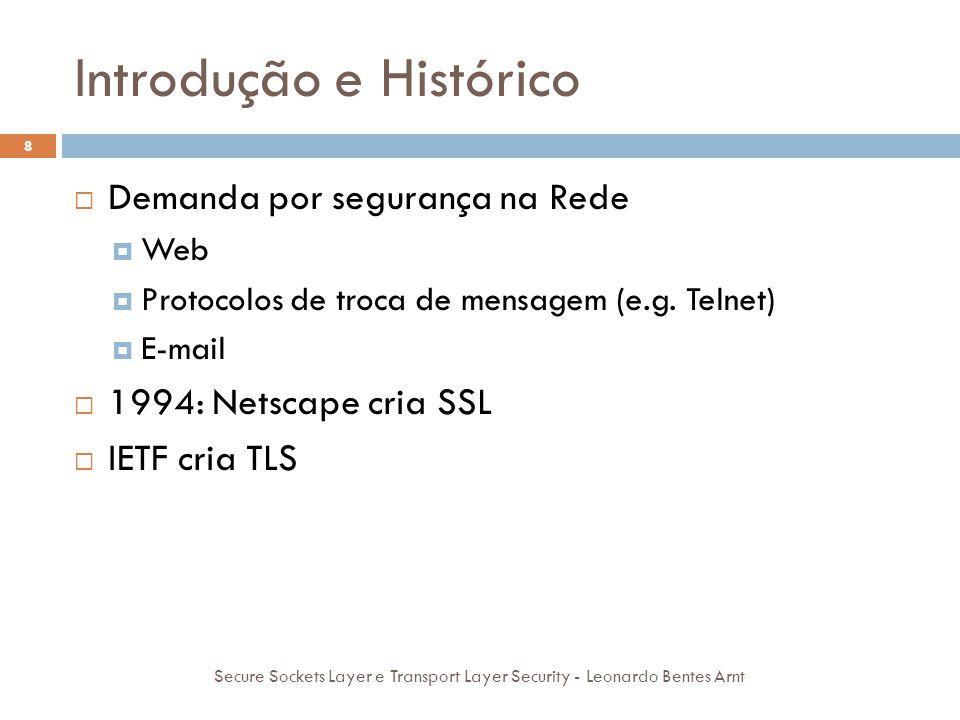 Introdução e Histórico 8  Demanda por segurança na Rede  Web  Protocolos de troca de mensagem (e.g. Telnet)  E-mail  1994: Netscape cria SSL  IE