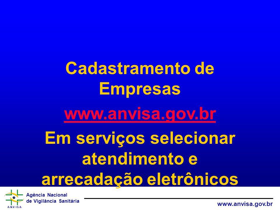 Agência Nacional de Vigilância Sanitária www.anvisa.gov.br Cadastramento de Empresas www.anvisa.gov.br Em serviços selecionar atendimento e arrecadação eletrônicos