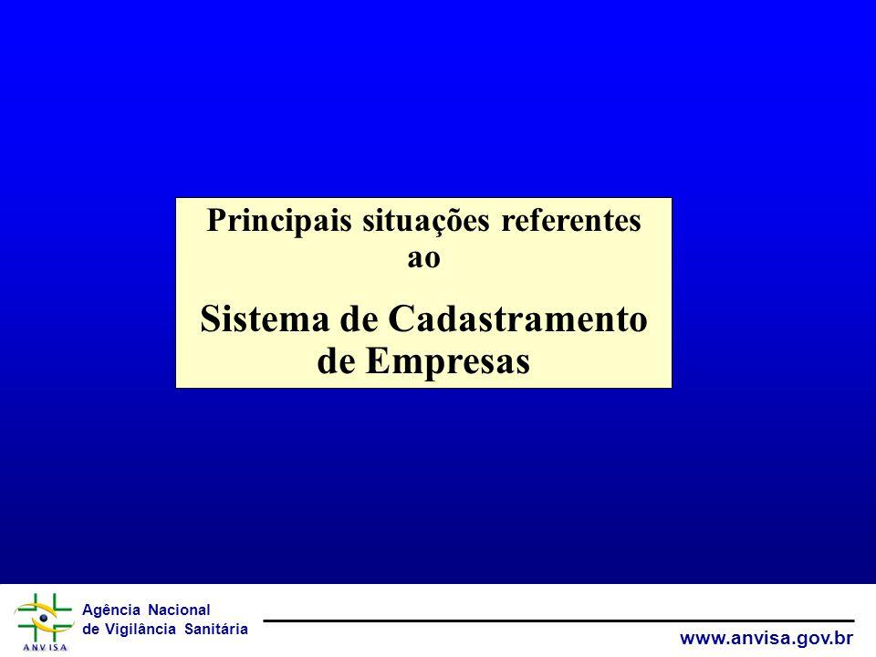 Agência Nacional de Vigilância Sanitária www.anvisa.gov.br Principais situações referentes ao Sistema de Cadastramento de Empresas