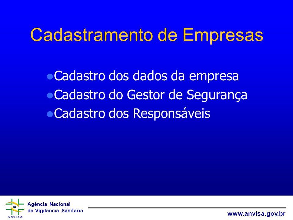 Agência Nacional de Vigilância Sanitária www.anvisa.gov.br Cadastramento de Empresas Cadastro dos dados da empresa Cadastro do Gestor de Segurança Cad