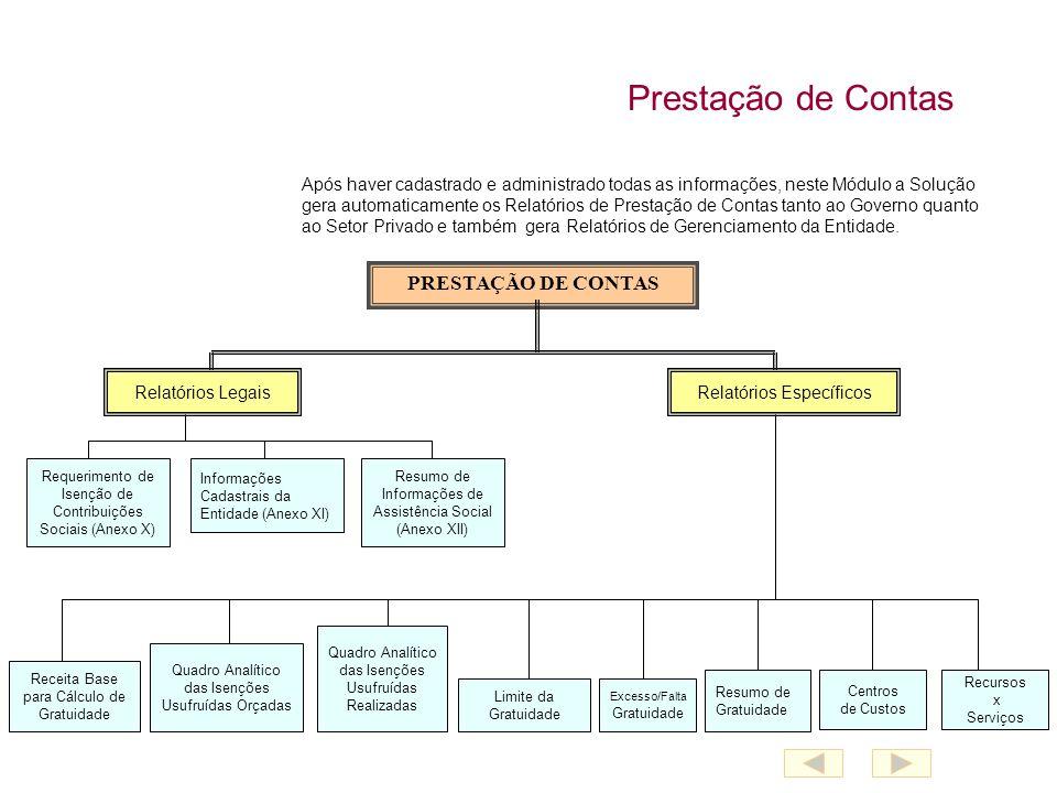 Prestação de Contas Após haver cadastrado e administrado todas as informações, neste Módulo a Solução gera automaticamente os Relatórios de Prestação de Contas tanto ao Governo quanto ao Setor Privado e também gera Relatórios de Gerenciamento da Entidade.
