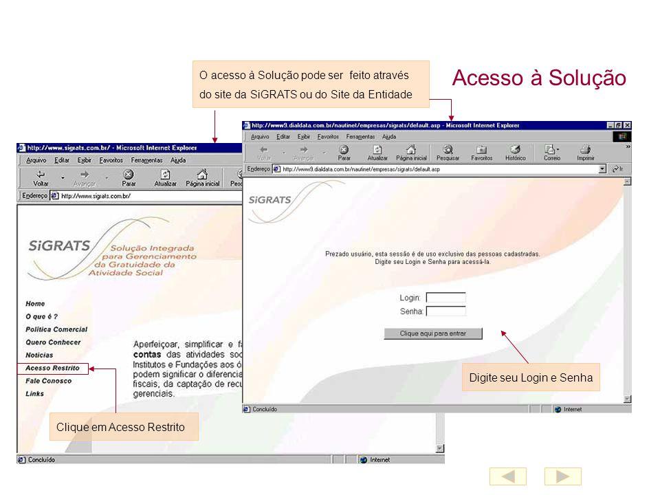 Acesso à Solução O acesso à Solução pode ser feito através do site da SiGRATS ou do Site da Entidade Clique em Acesso Restrito Digite seu Login e Senha
